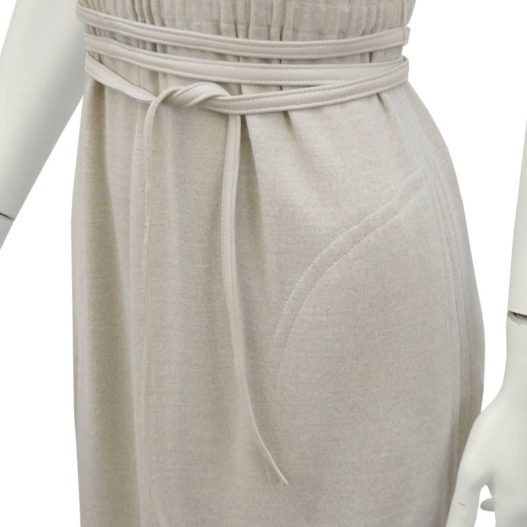Women's Bonnie Cashin Heathered Cream Wool Jersey Gown With Leather Trim, 1970s  For Sale