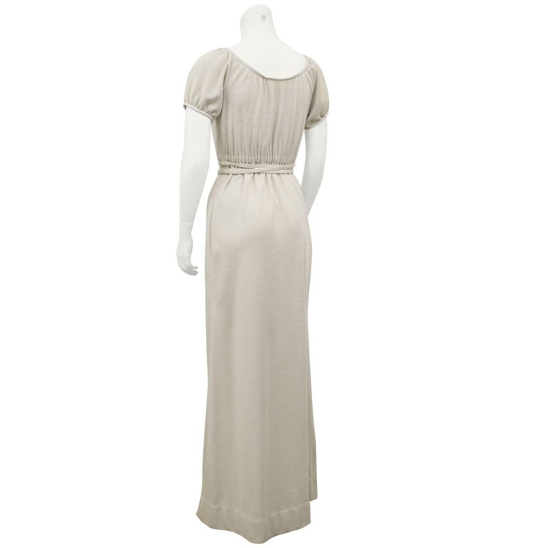 Gray Bonnie Cashin Heathered Cream Wool Jersey Gown With Leather Trim, 1970s  For Sale