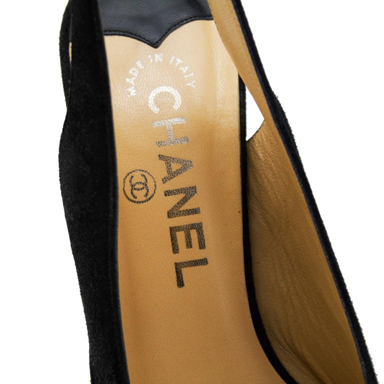 2c12c83b41c Late 1990s Chanel Black Suede Pointed Toe Sling Back Kitten Heels For Sale 2