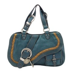 S/S 2006 Dior Double Gaucho Teal Blue Leather Saddle bag