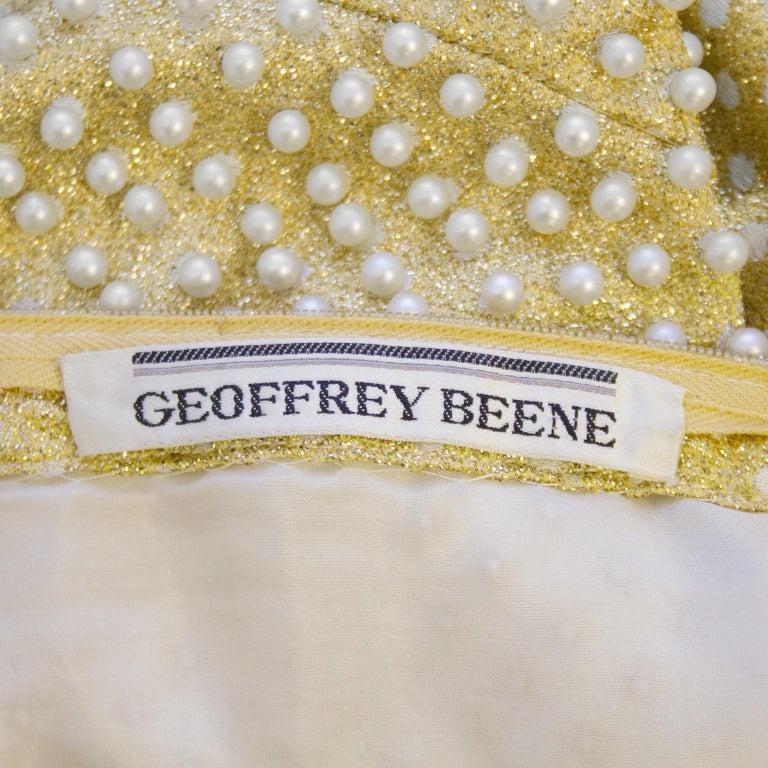 1970's Geoffrey Beene Gold Metallic Knit Dress w Pearls For Sale 2