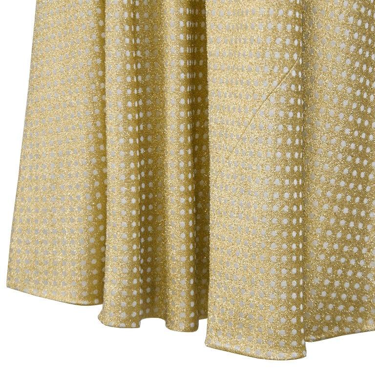 1970's Geoffrey Beene Gold Metallic Knit Dress w Pearls For Sale 1