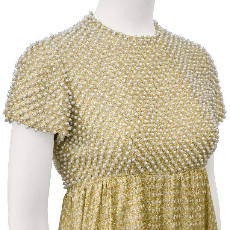 Women's 1970's Geoffrey Beene Gold Metallic Knit Dress w Pearls For Sale