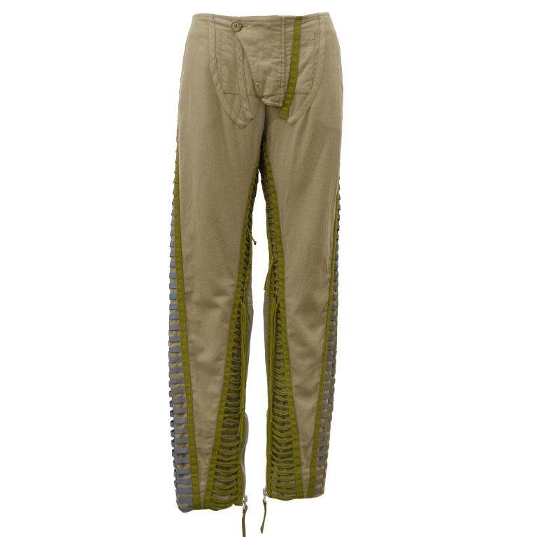 Iconic FW 2003 Helmut Lang Khaki Aviator Flight Bondage Pants