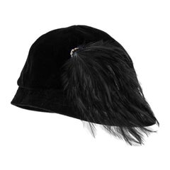1950's Saks 5th Avenue Black Cloche Hat With Feather