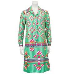 Lanvin Silk Poly Blend Green and Pink Mod Floral Shirt Dress, 1960s