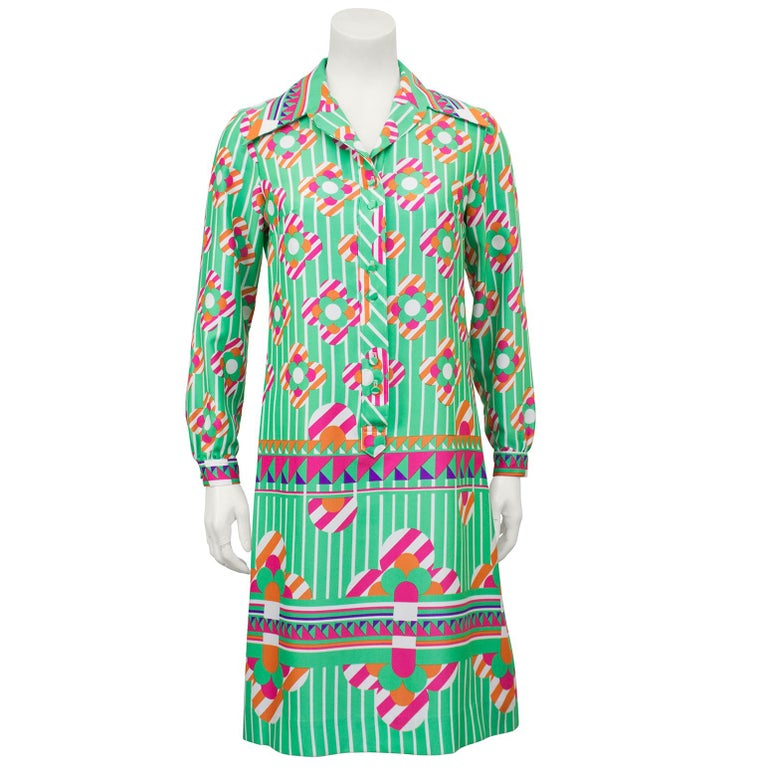 d1dd7ce97bb1 Lanvin Silk Poly Blend Green and Pink Mod Floral Shirt Dress, 1960s For Sale