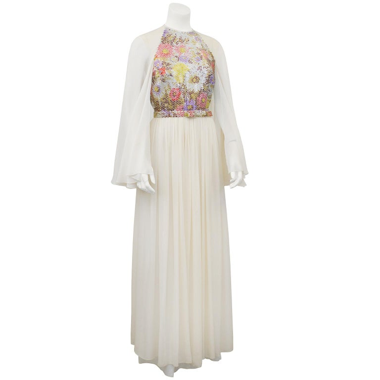 Saks Fifth Avenue Wedding Gowns: 1970s Saks Fifth Avenue White Chiffon And Sequin Butterfly