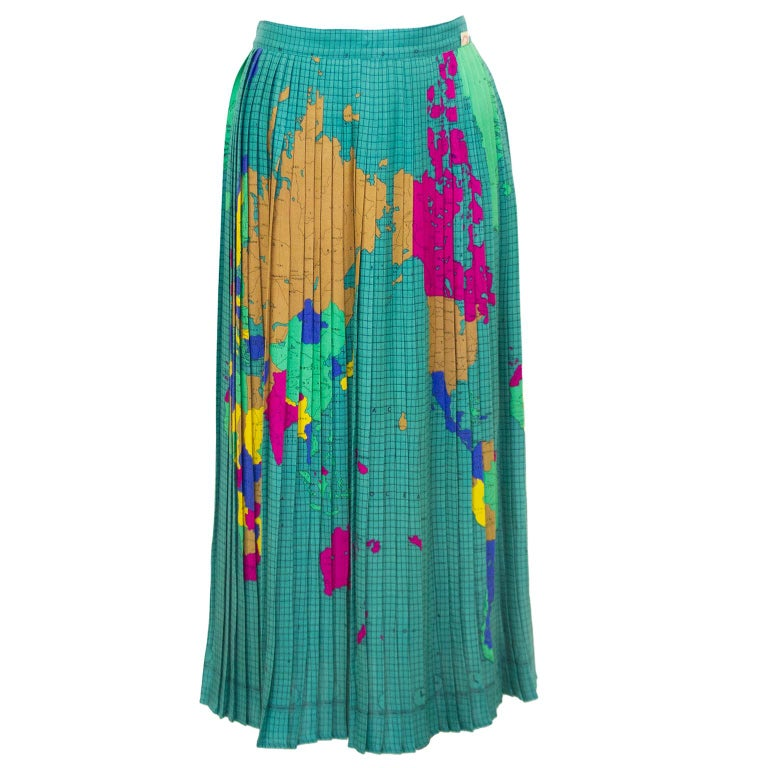 1970s Fiorucci World Map Pleated Skirt For Sale At 1stdibs