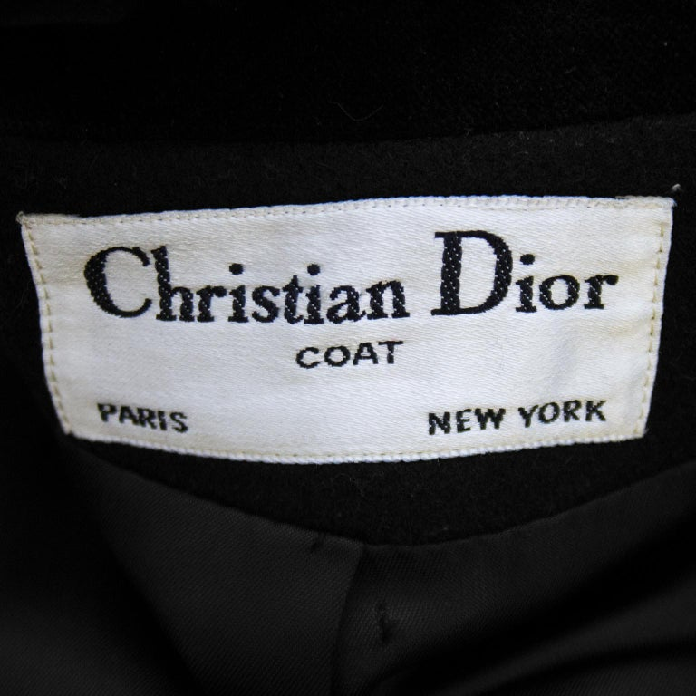 1980s Christian Dior Black Military Style Coat For Sale 3