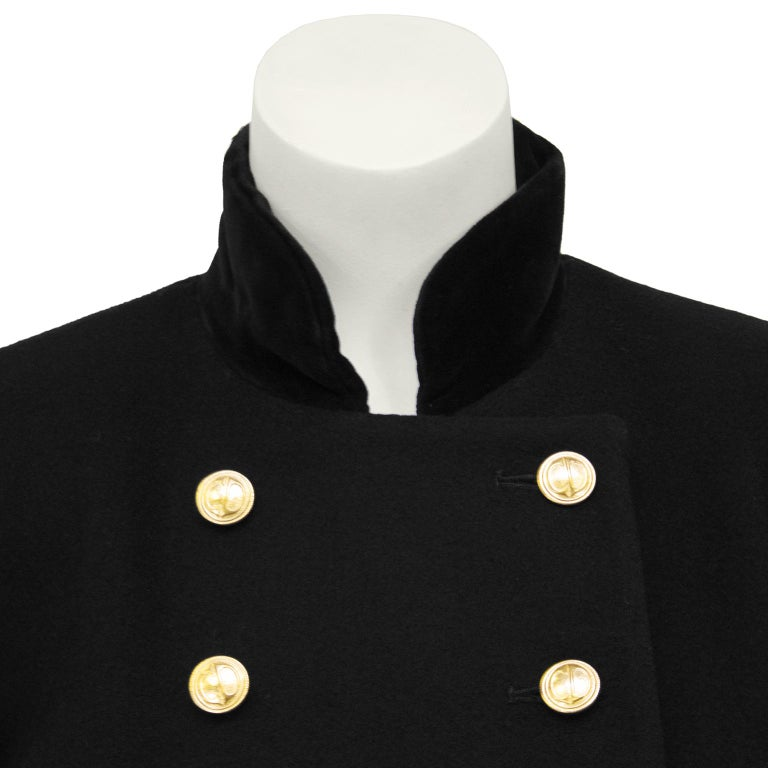1980s Christian Dior Black Military Style Coat For Sale 1