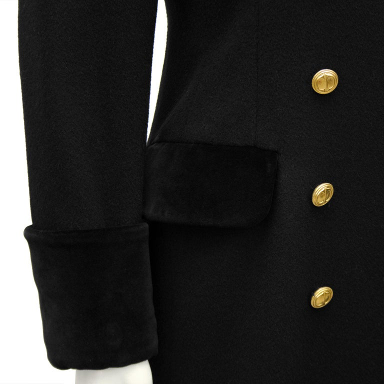 Women's 1980s Christian Dior Black Military Style Coat For Sale