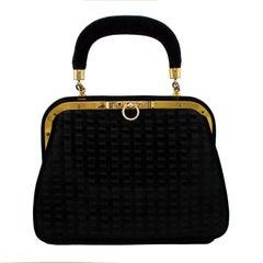 1960 Roberta di Camerino Black Velvet Handbag