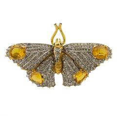 1980s KJL Rhinestone Butterfly Pin