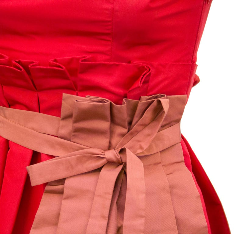5c4d0ef28 Women's 2005 Prada Spring Ready-to-Wear Red Taffeta Cocktail Dress With  Apron For