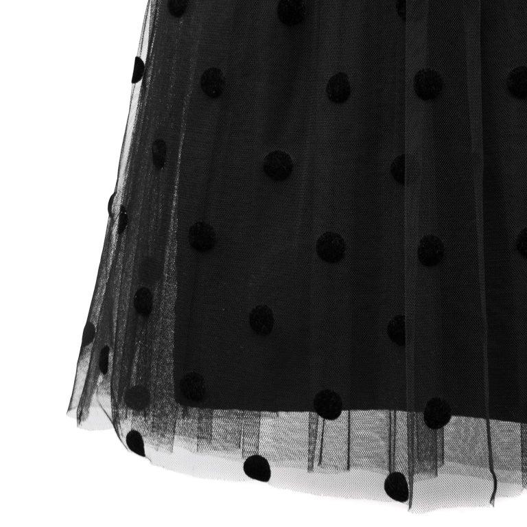 1980s Black Velvet and Tulle Dress For Sale 2