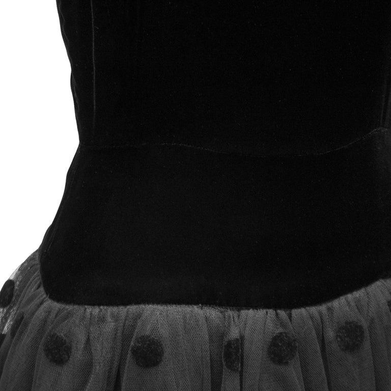 1980s Black Velvet and Tulle Dress For Sale 1