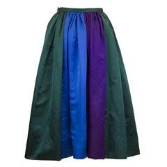 1960's Duchesse Satin Color Block Evening Skirt