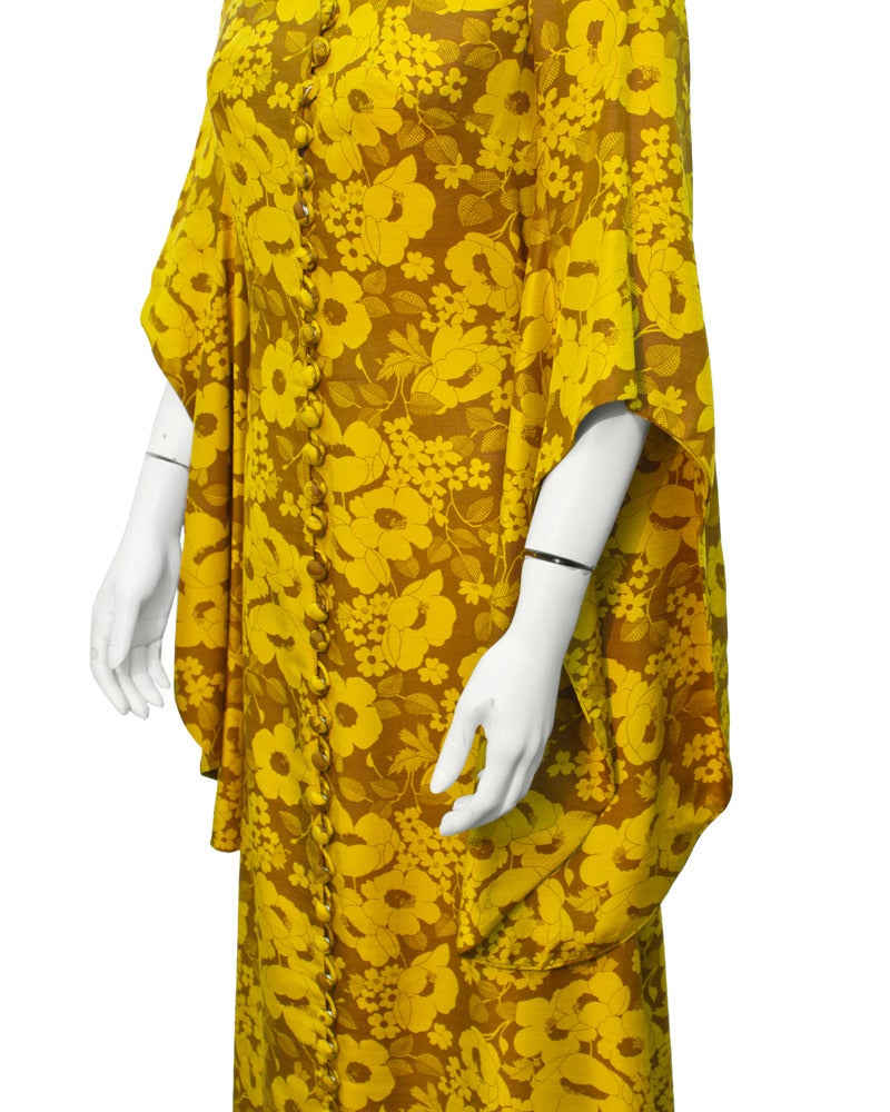 1960's Annacat Yellow floral maxi dress 4