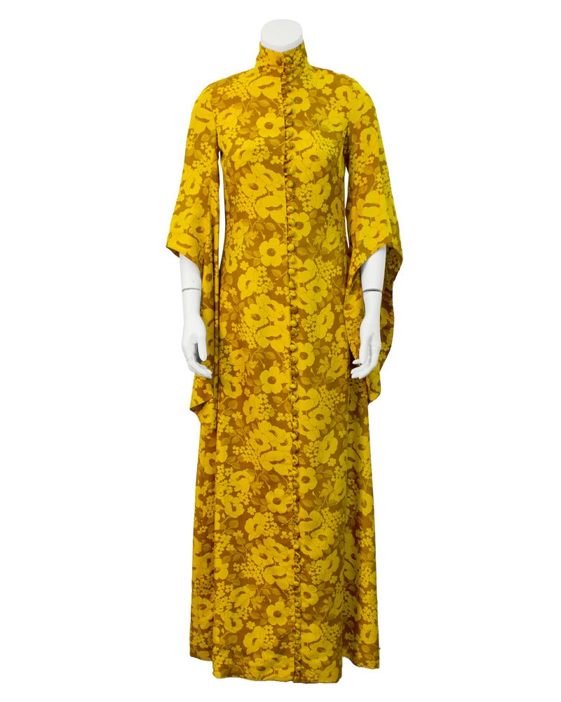 1960's Annacat Yellow floral maxi dress 3