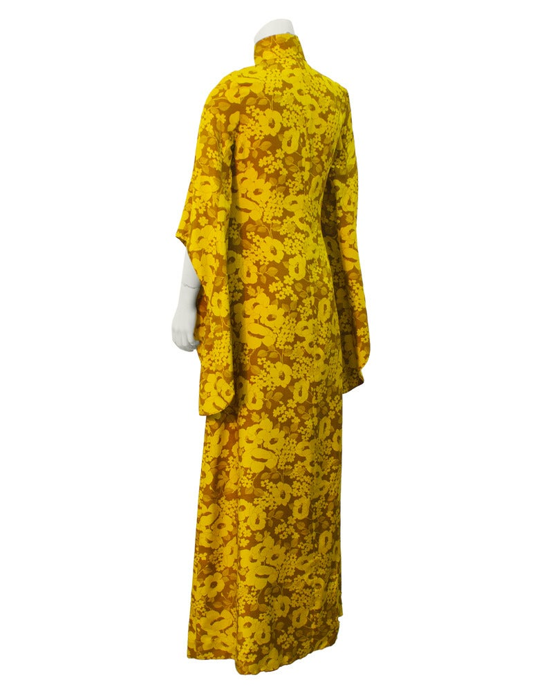 1960's Annacat Yellow floral maxi dress 2