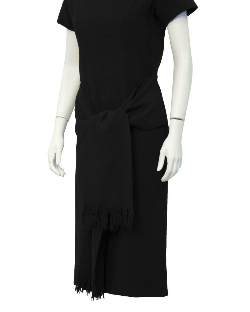 1950's Christian Dior Black Wool Short Sleeve Dress with Tie In Excellent Condition For Sale In Toronto, CA