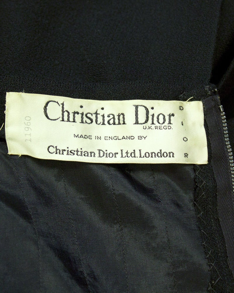 Women's 1950's Christian Dior Black Wool Short Sleeve Dress with Tie For Sale