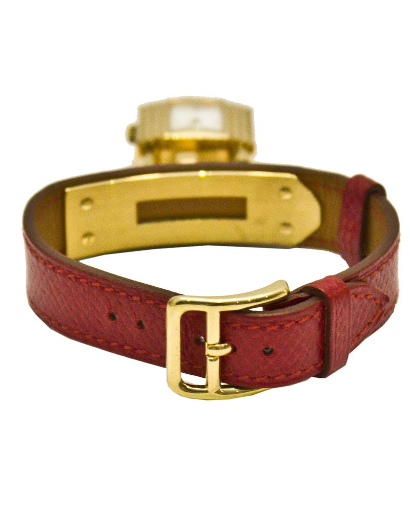 1994 Hermes Red Leather Kelly Watch with Gold Hardware at 1stdibs