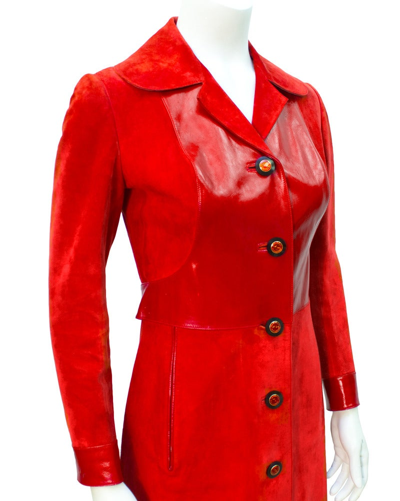 1970s Gucci Red Suede Coat In Excellent Condition For Sale In Toronto, Ontario