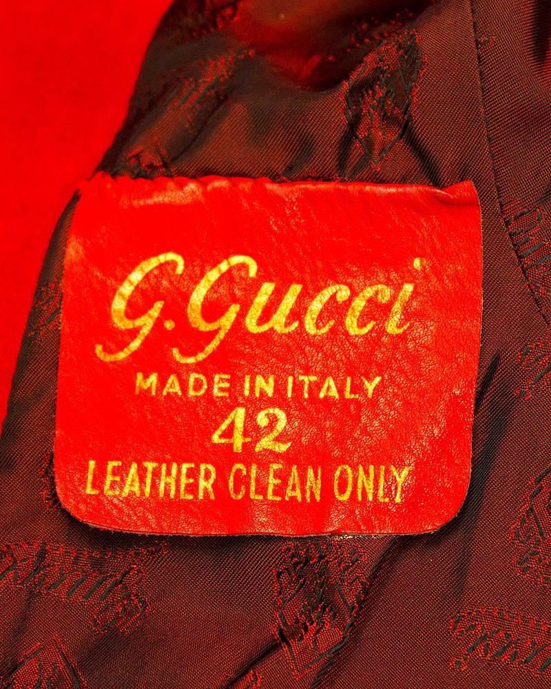 1970s Gucci Red Suede Coat For Sale 1