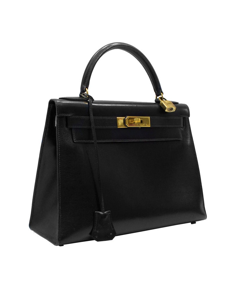 1989 Black Box Leather Rigid 28 cm Hermes Kelly Bag 2