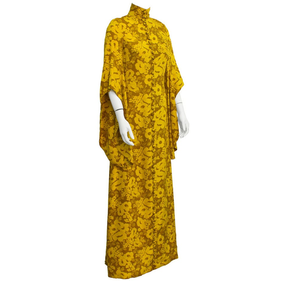 1960's Annacat Yellow floral maxi dress 1