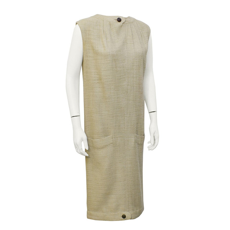 1960's Simonetta Natural Linen Dress