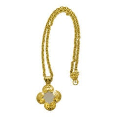 1990s Chanel Goldtone Chain with Large Mirror Pendant