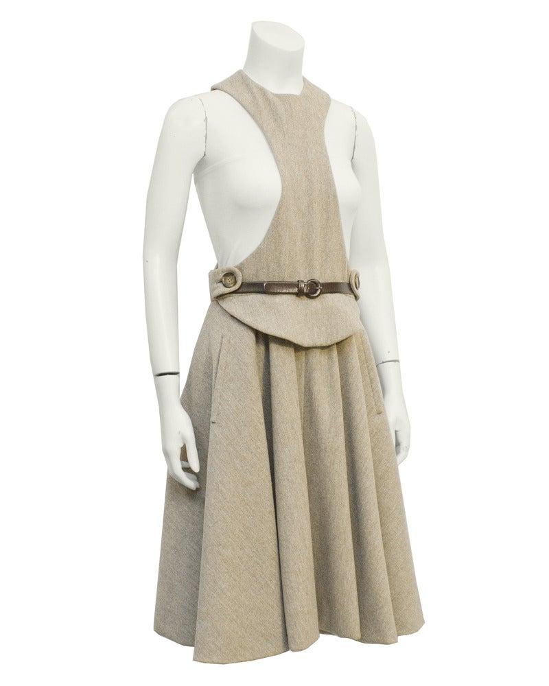 1960s Geoffrey Beene Oatmeal Wool 'Lollipop' Dress 2
