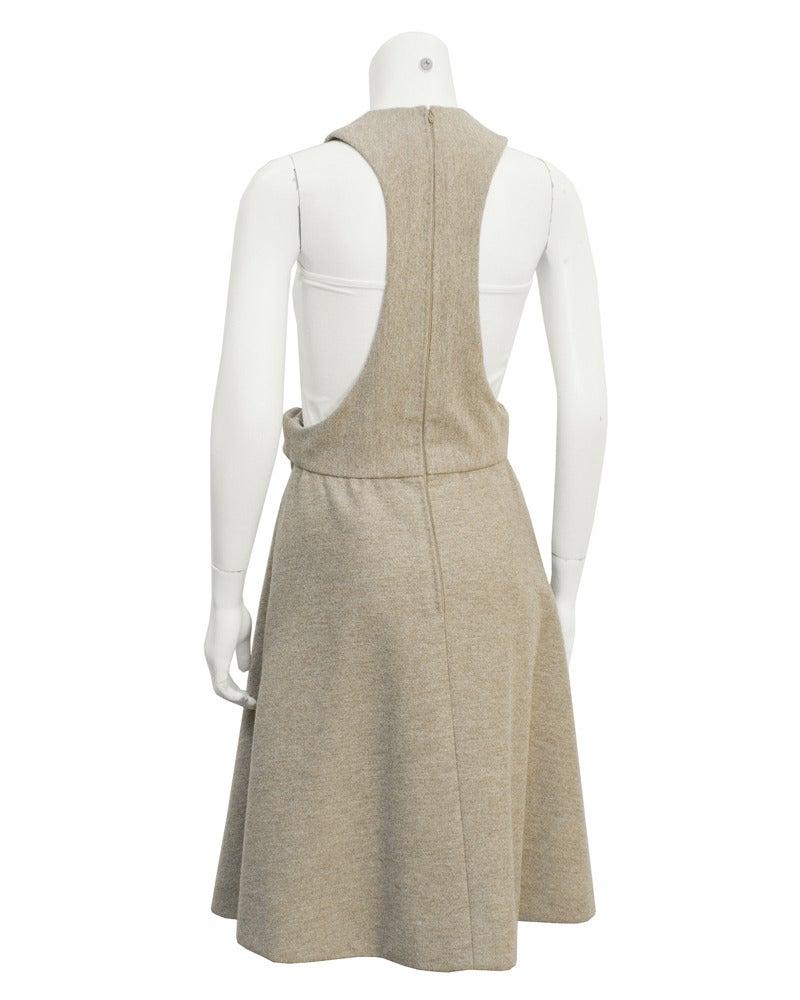 1960s Geoffrey Beene Oatmeal Wool 'Lollipop' Dress 3