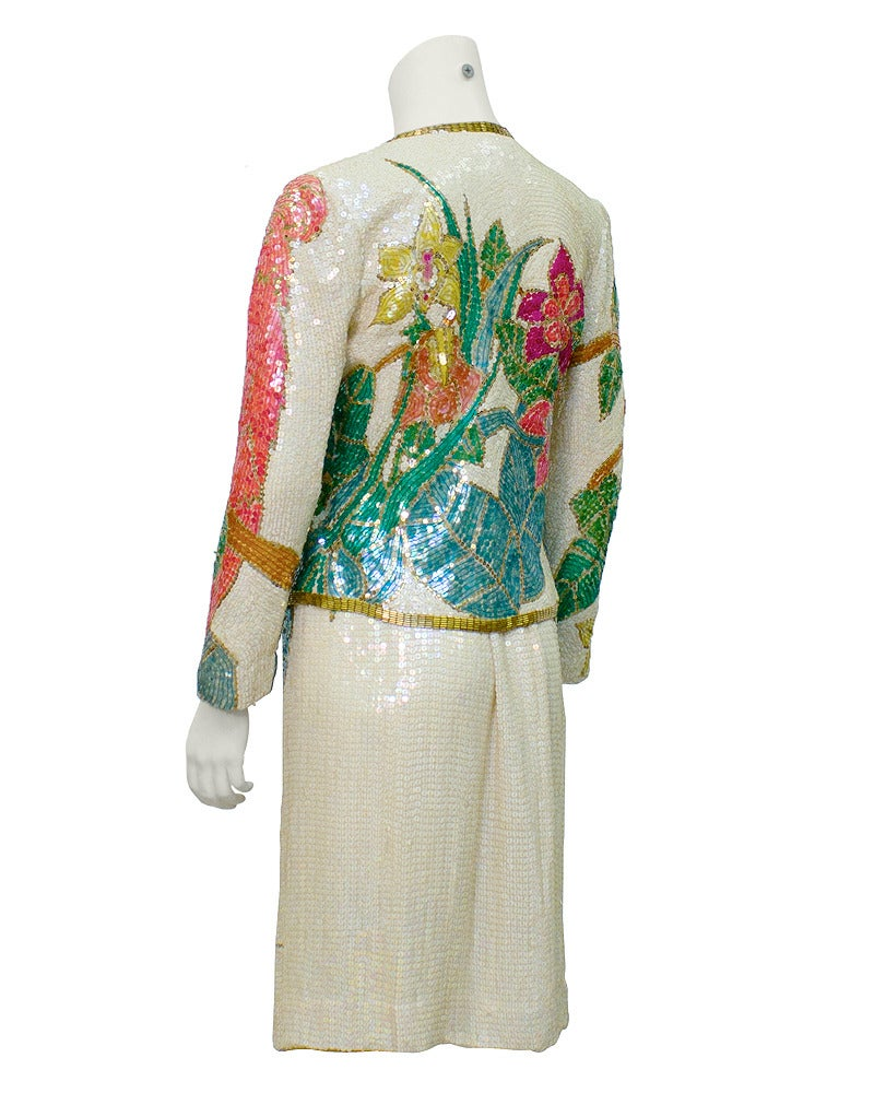 1980s Neil Bieff Floral Beaded Evening Suit 2