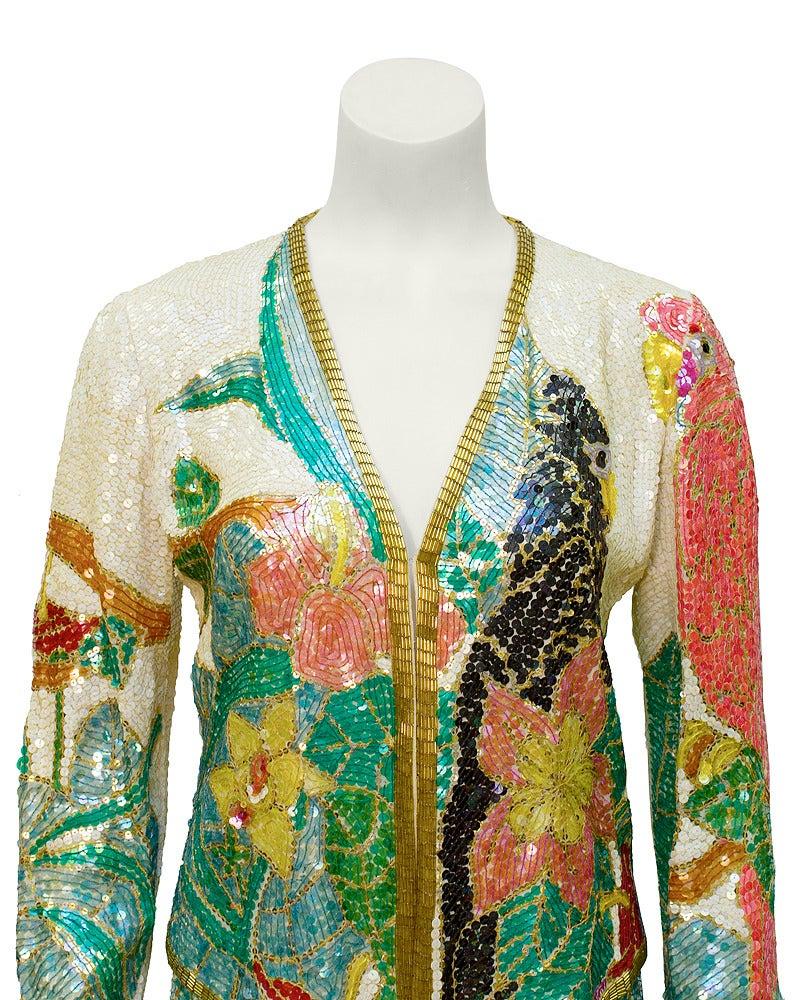 1980s Neil Bieff Floral Beaded Evening Suit 3