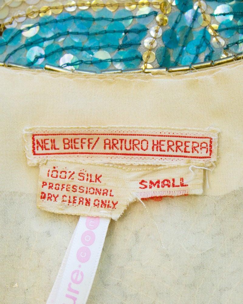 1980s Neil Bieff Floral Beaded Evening Suit 5