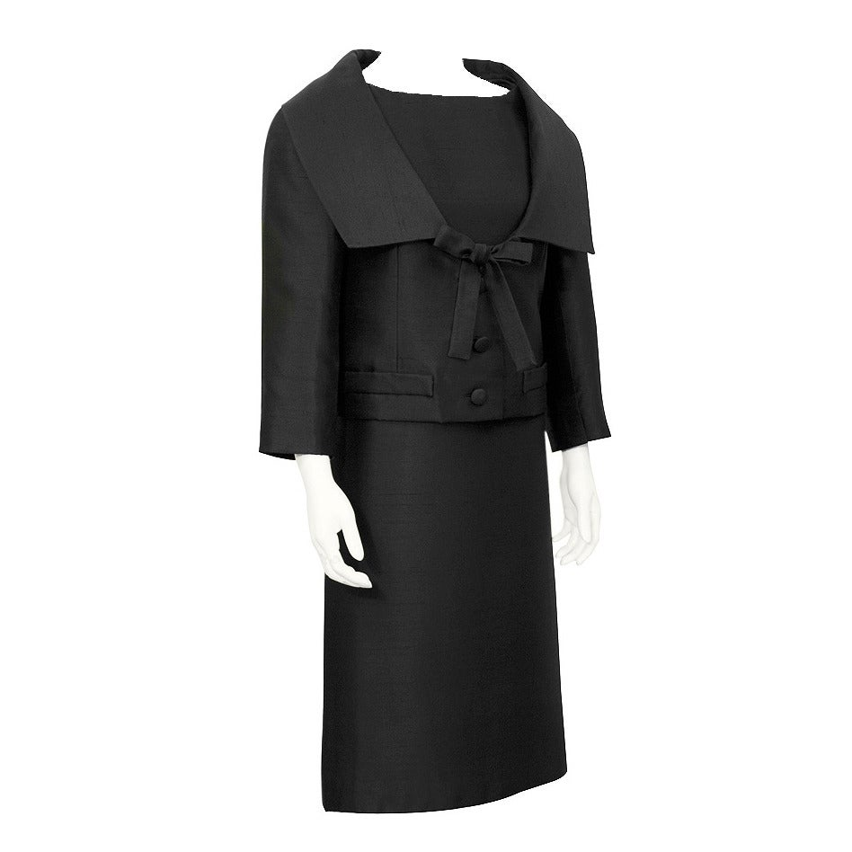 1950s Christian Dior Black Silk Ensemble 1