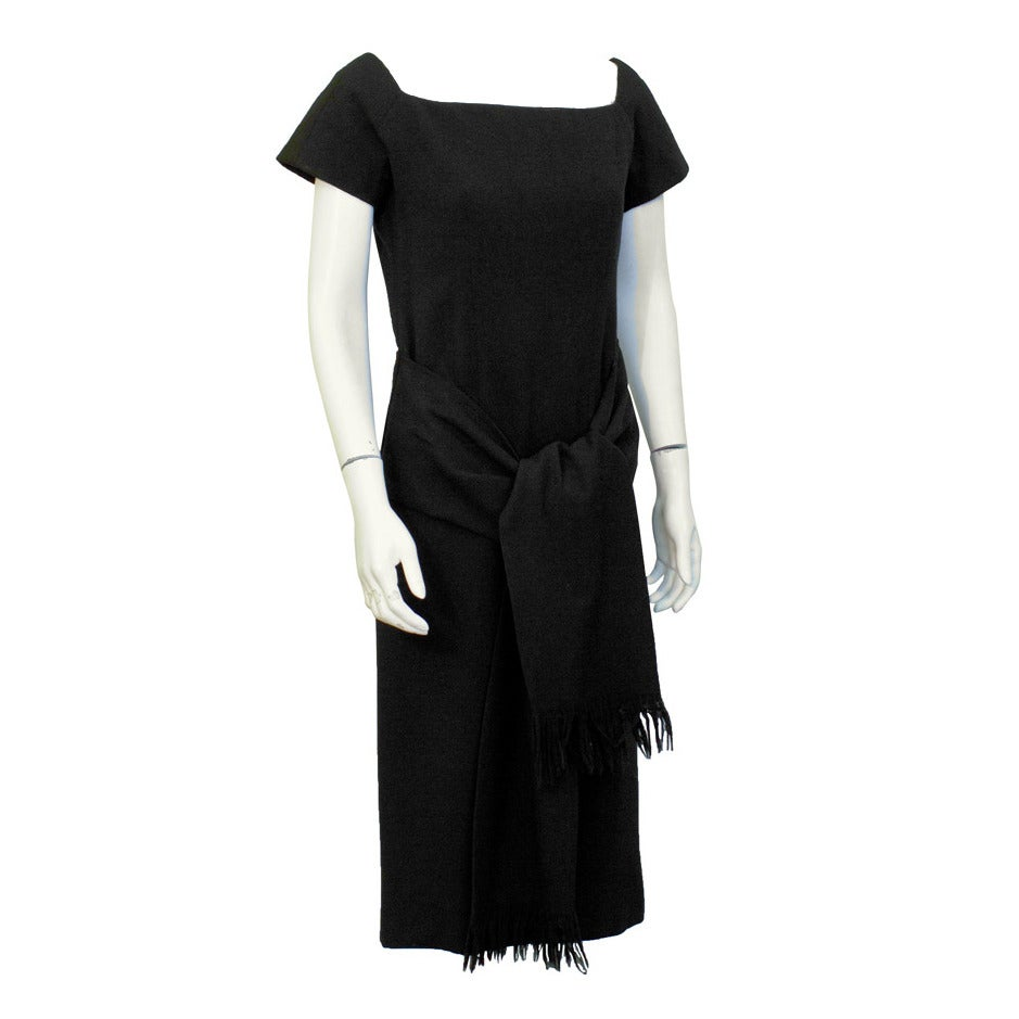 1950's Christian Dior Black Wool Short Sleeve Dress with Tie