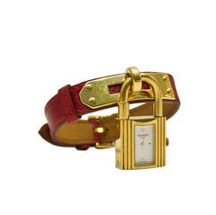 1994 Hermes Red Leather Kelly Watch with Gold Hardware