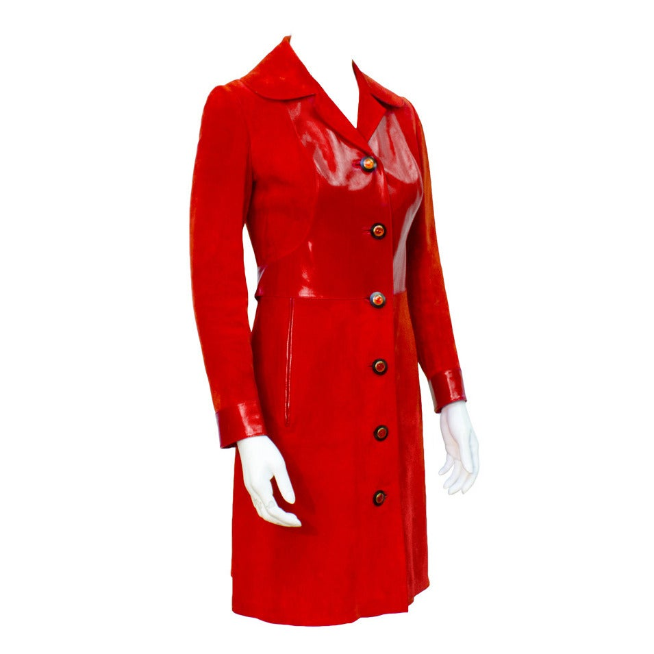 1970s Gucci Red Suede Coat For Sale