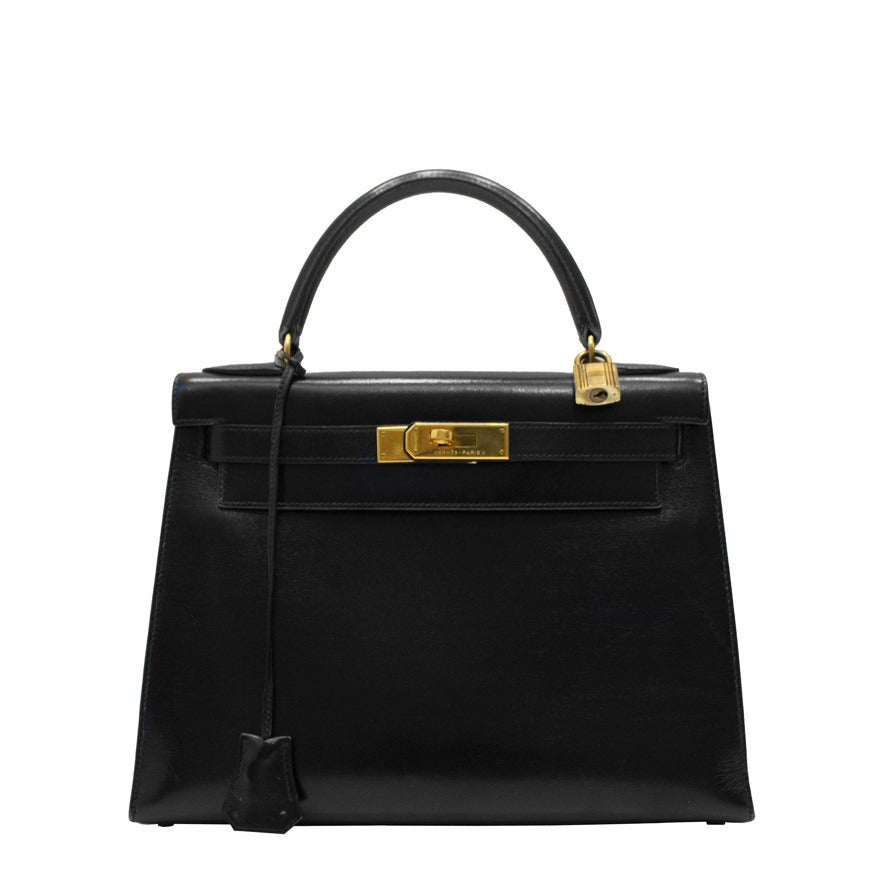 1989 Black Box Leather Rigid 28 cm Hermes Kelly Bag
