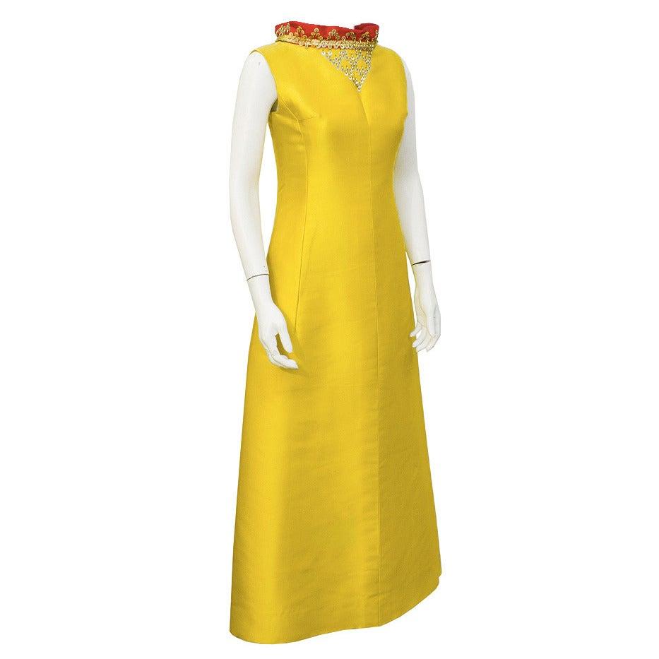 1967 Yellow Silk Lanvin Gown