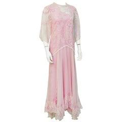 Zandra Rhodes 1980s Cream & Pink Chiffon Gown
