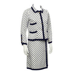 Chanel Couture 1960s Cream & Navy Silk Polka Dot Skirt Suit