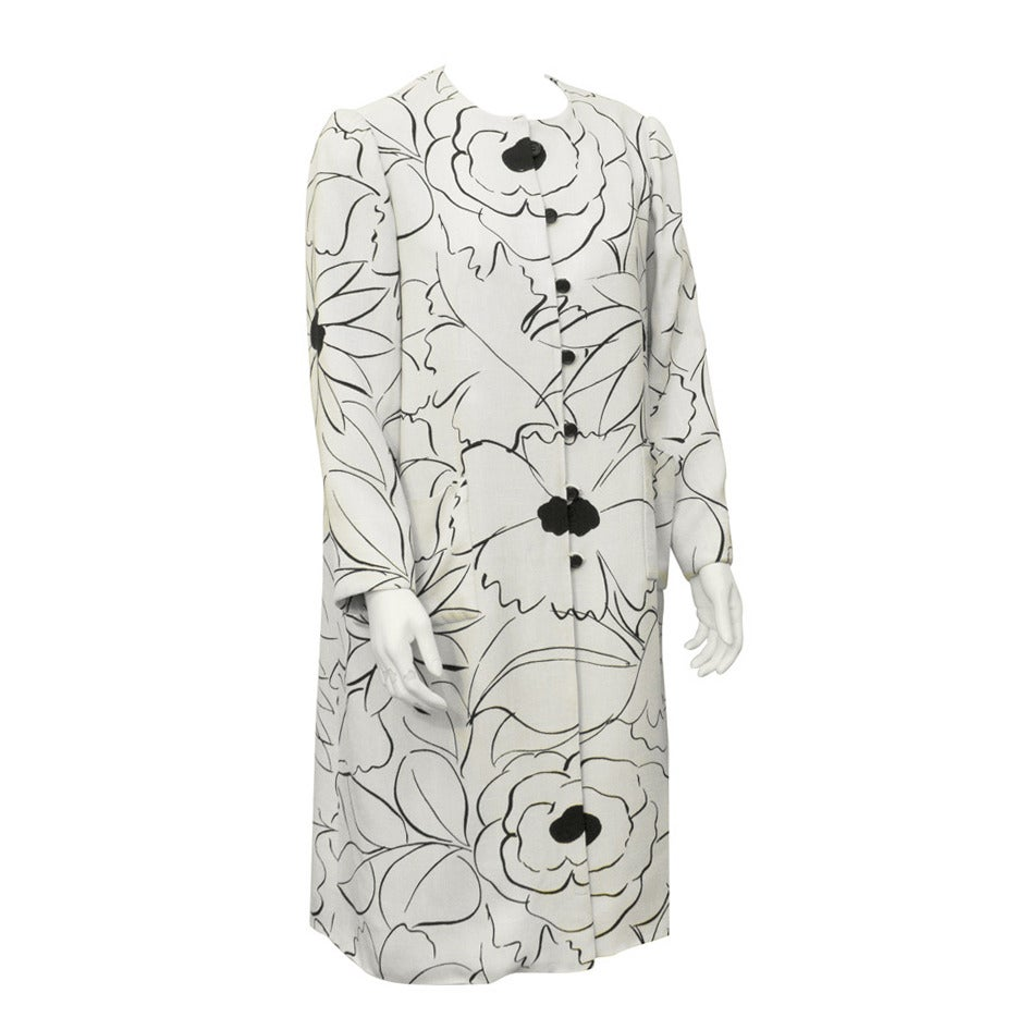 1960s Nina Ricci White and Black Floral Linen Coat
