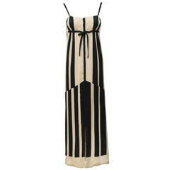 1960s Pauline Trigere Black & White Abstract Stripe Silk Gown