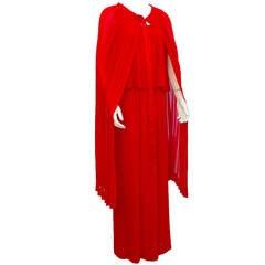 1980s Yves Saint Laurent YSL Red Pleated Chiffon Set